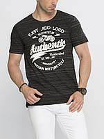 Мужская футболка LC Waikiki / ЛС Вайкики с надписью Motorcycles антрацитового цвета