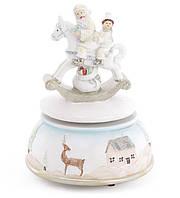 """Декоративная музыкальная игрушка """"Санта на лошади"""" на заводном механизме 15 см"""