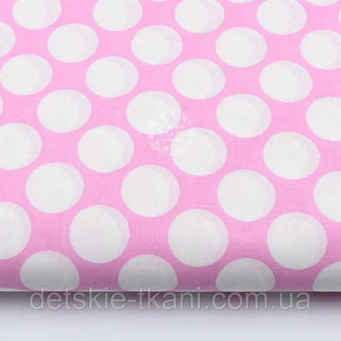 Лоскут ткани розового цвета с густыми горохами размером 3 см № 669а, размер 74*78см