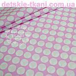 Лоскут ткани розового цвета с густыми горохами размером 3 см № 669а, размер 74*78см, фото 3