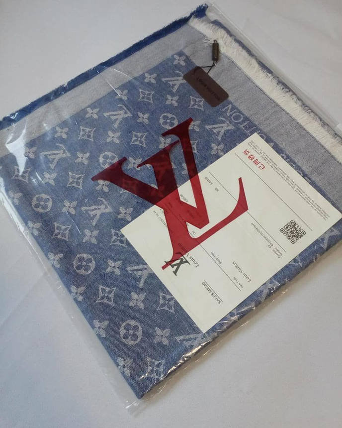 Платок Louis Vuitton джинс комби, фото 2