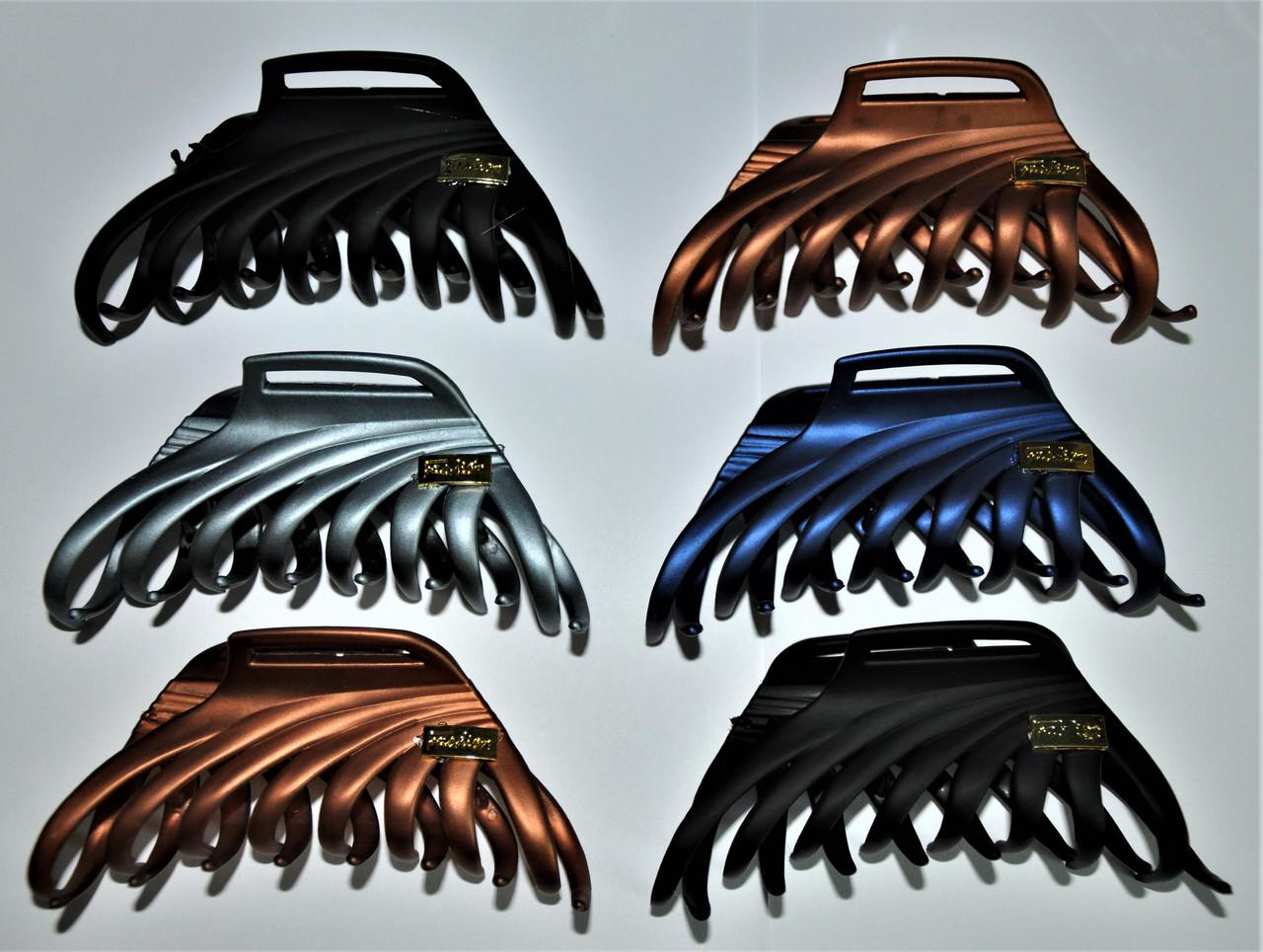 Великі матові Краби для волосся з емблемою (6 шт)