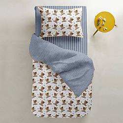 Комплект дитячої постільної білизни EAR /синя смуга/
