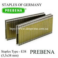 Скобы PREBENA | каркасная скоба Тип-Е (5,5х38 мм)