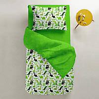 Комплект детского постельного белья DINO /зеленый горох/