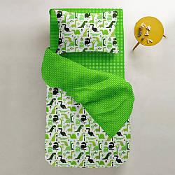 Комплект дитячої постільної білизни DINO /зелений горох/