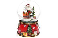 Декоративный водяной шар Санта с летящим снегом и музыкой на батарейках 15.5см, в упаковке 1шт. (559-411)