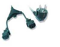 Кабель силовой, cee7/17-c13*2, y-образный, длина 2м (1.55м+0.45м+0.45м), vde, 3*1 мм кв.