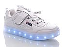 """Детские LED кроссовки с кабелем USB копия """"Fila"""" Размеры 34 35 хит продаж, фото 3"""