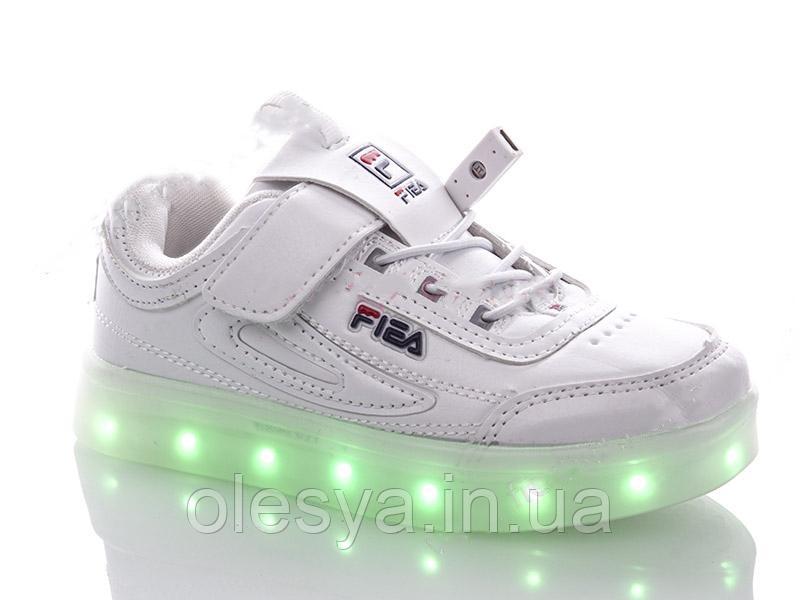 """Детские LED кроссовки с кабелем USB копия """"Fila"""" Размеры 34 35 хит продаж"""