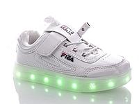 """Детские LED кроссовки с кабелем USB копия """"Fila"""" Размеры 34- 37 Хит продаж"""