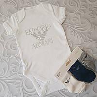 Белый бодик Armani, стразы., фото 1
