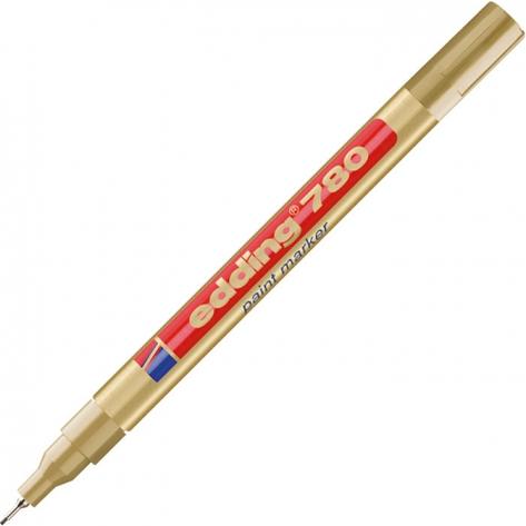 Маркер лакирующий водостойкий Edding 780; золотой (0,8мм) (метал. корпус)