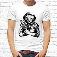 Мужская футболка с принтом Кот с пистолетами Push IT