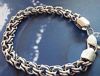 Cеребряный мужской браслет, 210 мм, 13.9 грамм, плетение Бисмарк