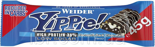 Протеиновый батончик WEIDER Yippie! 45 g Coconut-Dark Chocolate