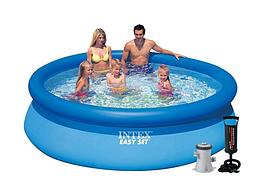 Надувной бассейн Intex 28122-3 с подстилкой тентом и насос