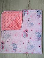 Одеяло детское Единорожки, коралл, польский хлопок