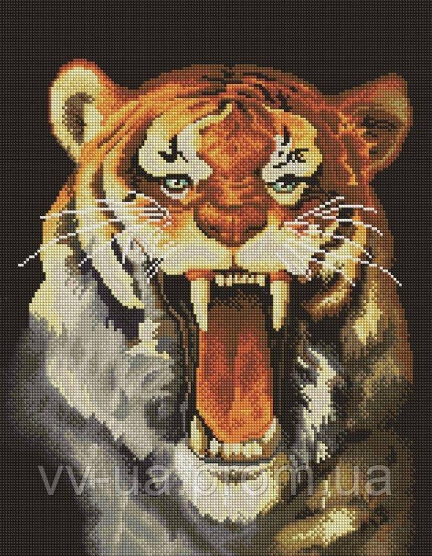 Алмазная мозаика Агресивный тигр, 40x50 см