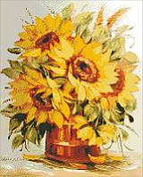 Алмазная мозаика Букет подсолнухов, 40x50 см, Идейка, фото 1