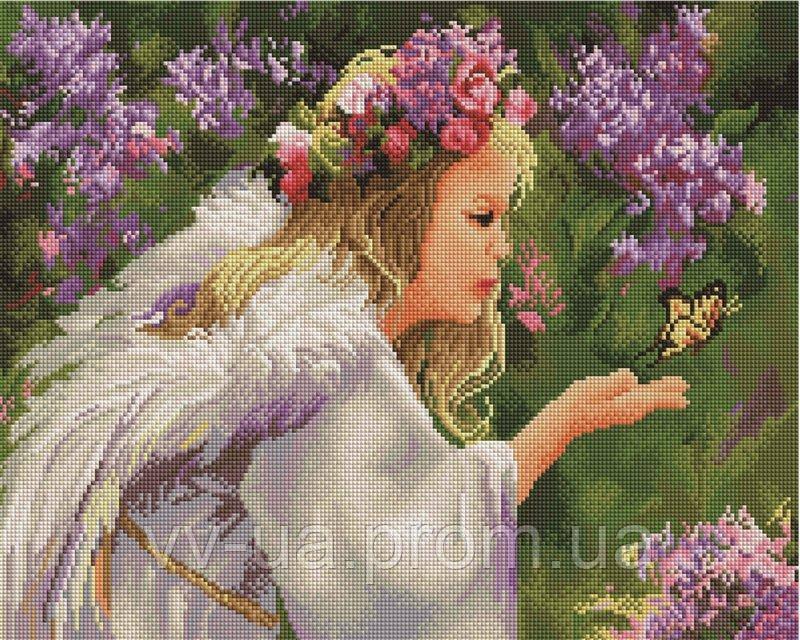 Алмазная мозаика Девушка у сирени, 40x50 см