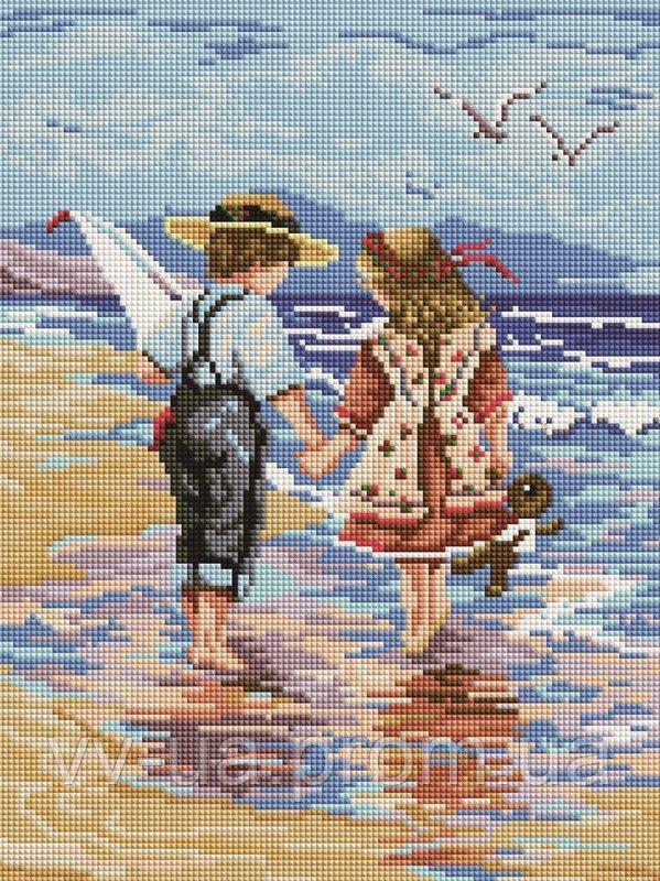 Алмазная мозаика Детки у моря, 30x40 см