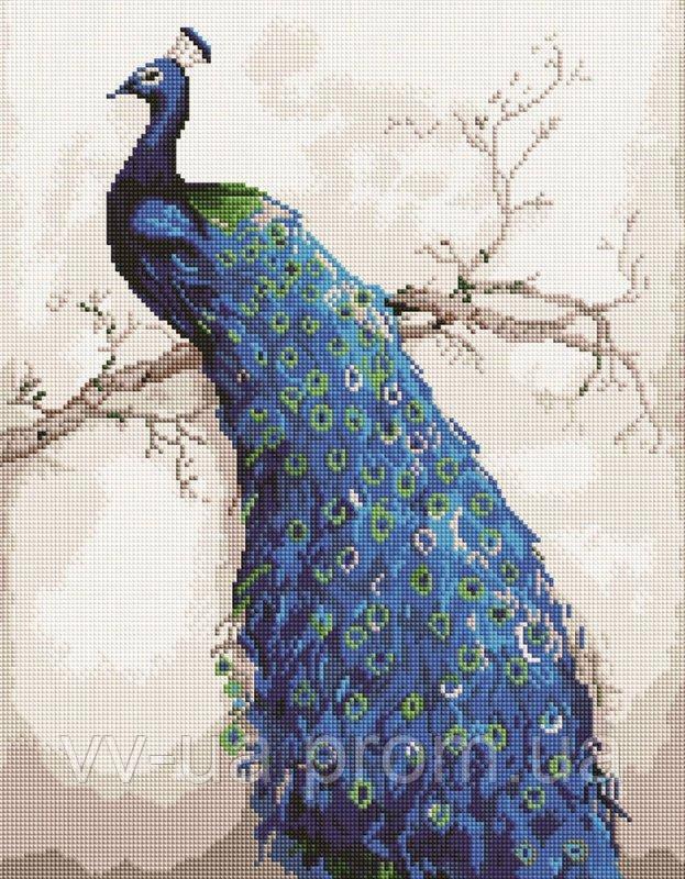 Алмазная мозаика Изящный павлин, 40x50 см