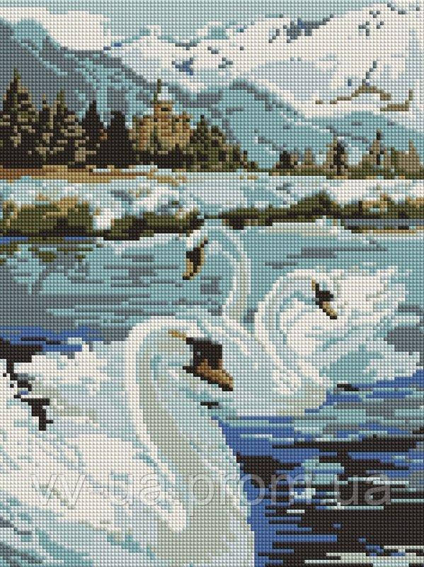 Алмазная мозаика Лебеди у Альп, 30x40 см