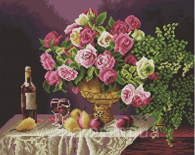 Алмазная мозаика Натюрморт с розами, 40x50 см, Brushme (Брашми)