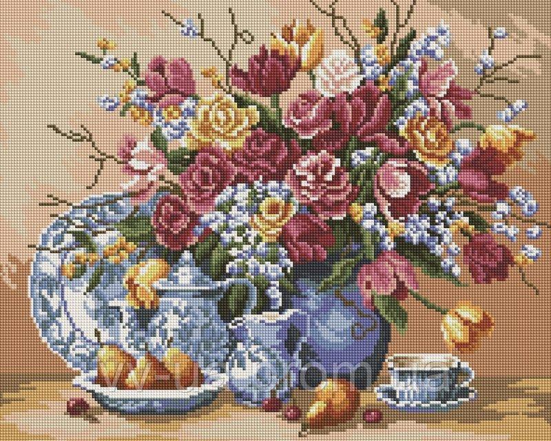 Алмазная мозаика Натюрморт цветов, 40x50 см