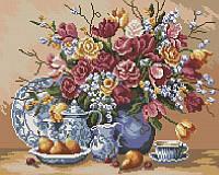 Алмазная мозаика Натюрморт цветов, 40x50 см, фото 1