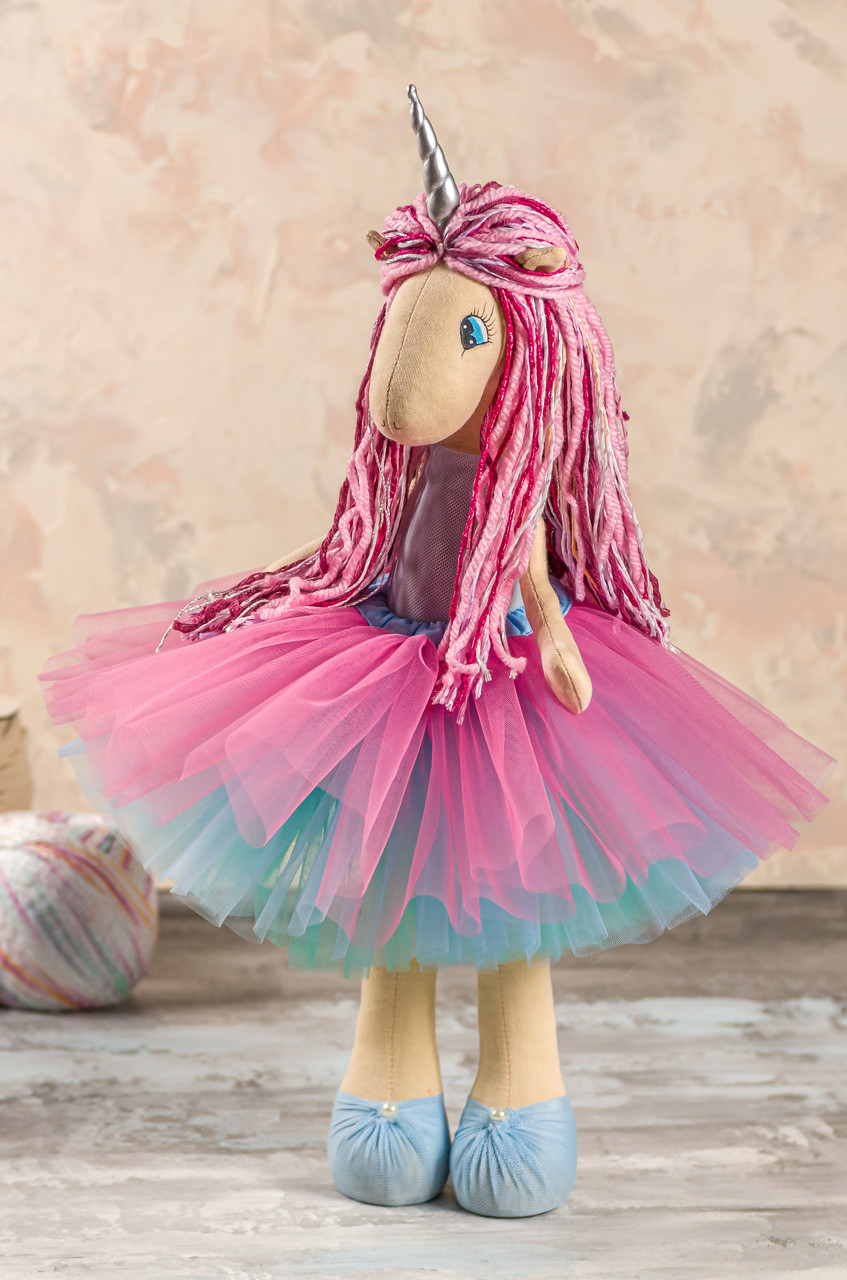 Мягкая интерьерная игрушка ручной работы единорог стильняшка Пастельно-синий 45 см подарок детям и взрослым