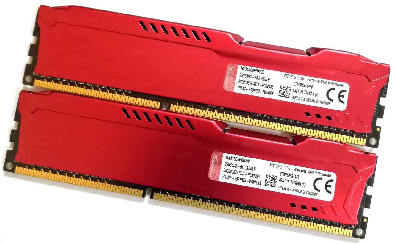 Комплект оперативной памяти HyperX Fury DDR3 8Gb KIT of 2 1333MHz PC3 10600U CL9 (HX313C9FRK2/8) Б/У
