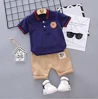 Детский костюм летний с Мишкой синий