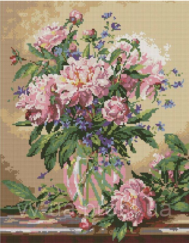 Алмазная мозаика Пионы в вазе, 40x50 см, Brushme (Брашми)