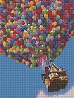 Алмазная мозаика Полет на воздушных шариках, 30x40 см (EF184)