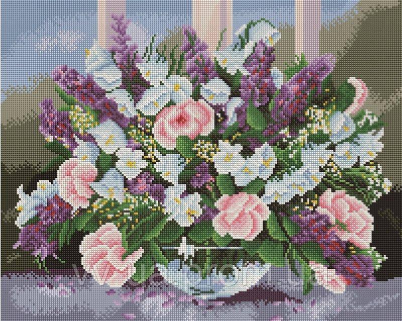 Алмазная мозаика Сирень на столе, 40x50 см (GF226)