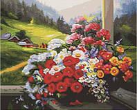 Алмазная мозаика Цветы с видом на горы, 40x50 см (GF1931)