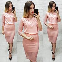 Костюм двойка (арт. 814/2 + 122) женский блузка + юбка нарядный персиковый