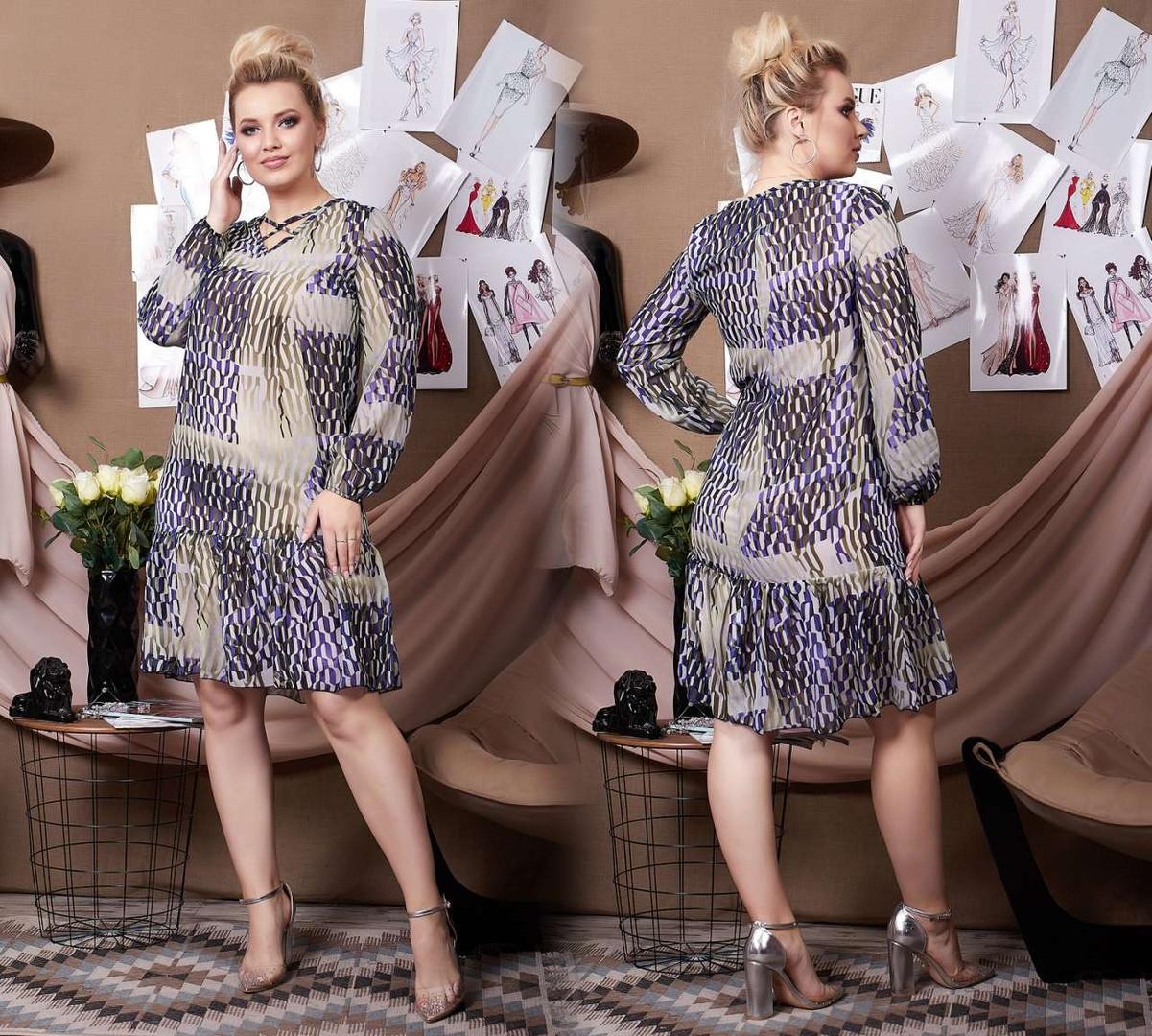 """Прямое шифоновое платье """"Glamour"""" с оборкой и длинным рукавом (большие размеры)"""