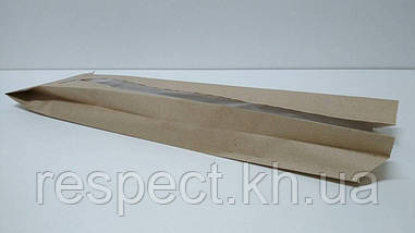 Пакет бумажный с ПП окном  12/5*43 коричневый (1000 шт)