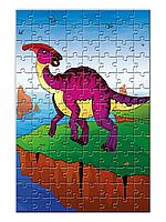 """Пазл для детей с изображением динозавра """"Паразауролоф""""  (120 элементов, А4)"""