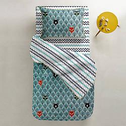 Комплект дитячої постільної білизни BEAR WOOD /зигзаг синьо-блакитний/