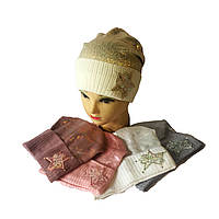Шапочка для девочки одинарная вязка конверт, фольгированная от 4 до 6 лет