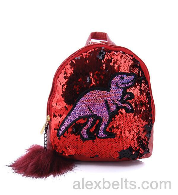 Детский рюкзак с двухсторонними пайетками «Тирекс»  (красный)