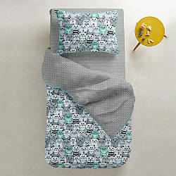 Комплект дитячої постільної білизни CATS /сірий в горошок/