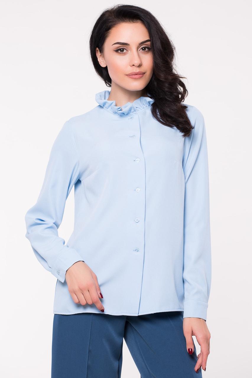 Голубая блуза CALVIN рубашечного кроя с воланом Бесплатная доставка Justin