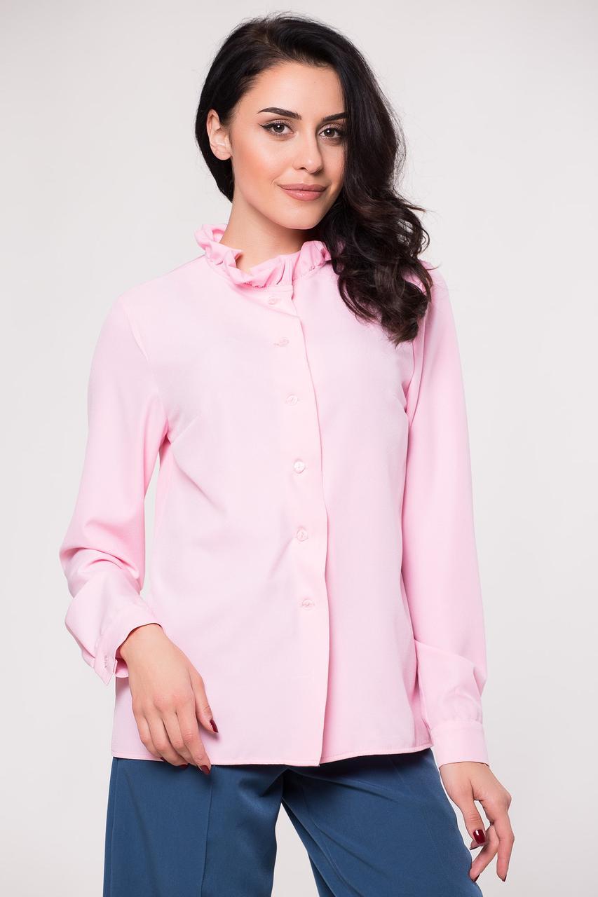 Розовая блуза CALVIN рубашечного кроя с воланом