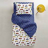 Комплект детского постельного белья CARS /звезды на синем/