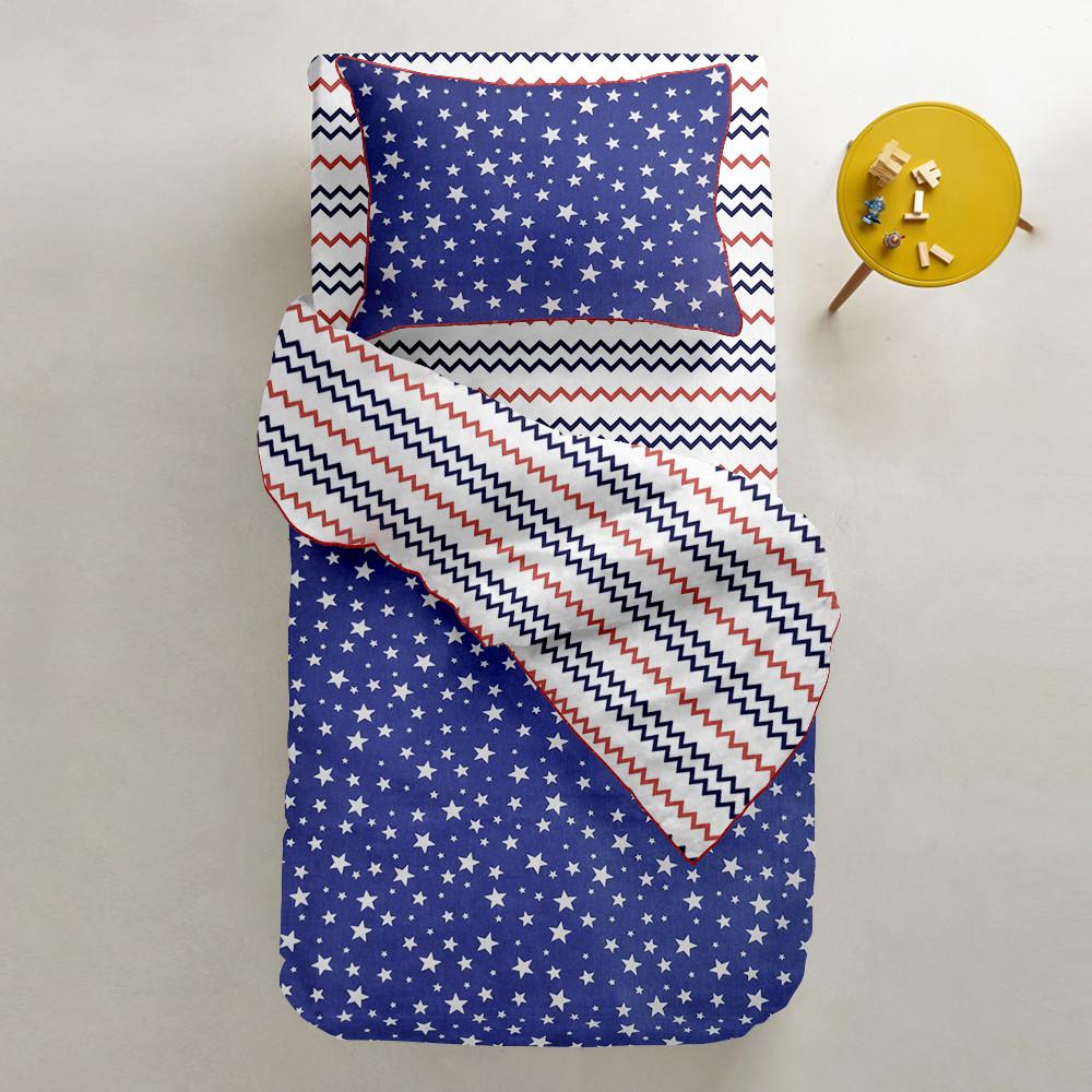 Комплект дитячої постільної білизни STARFALL BLUE /зигзаг синьо-червоний/
